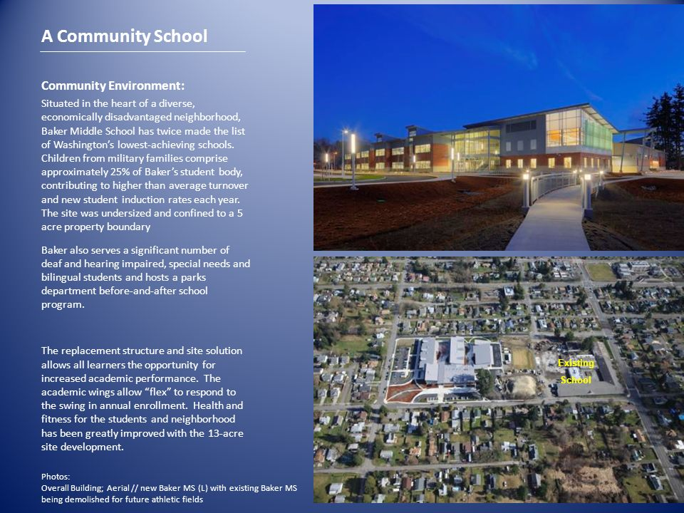 Community Environment: Situated in the heart of a diverse, economically disadvantaged neighborhood, Baker Middle School has twice made the list of Was