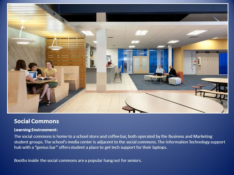 Social Commons Learning Environment: The social commons is home to a school store and coffee bar, both operated by the Business and Marketing student groups.