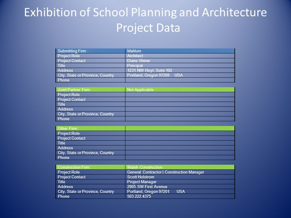 Exhibition of School Planning and Architecture Project Data Submitting Firm :Mahlum Project RoleArchitect Project ContactDiane Shiner TitlePrincipal A