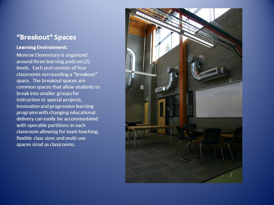 Outdoor Classrooms Learning Environment: The exterior landscape design provides two outdoor classrooms, incorporating the site into the curriculum.