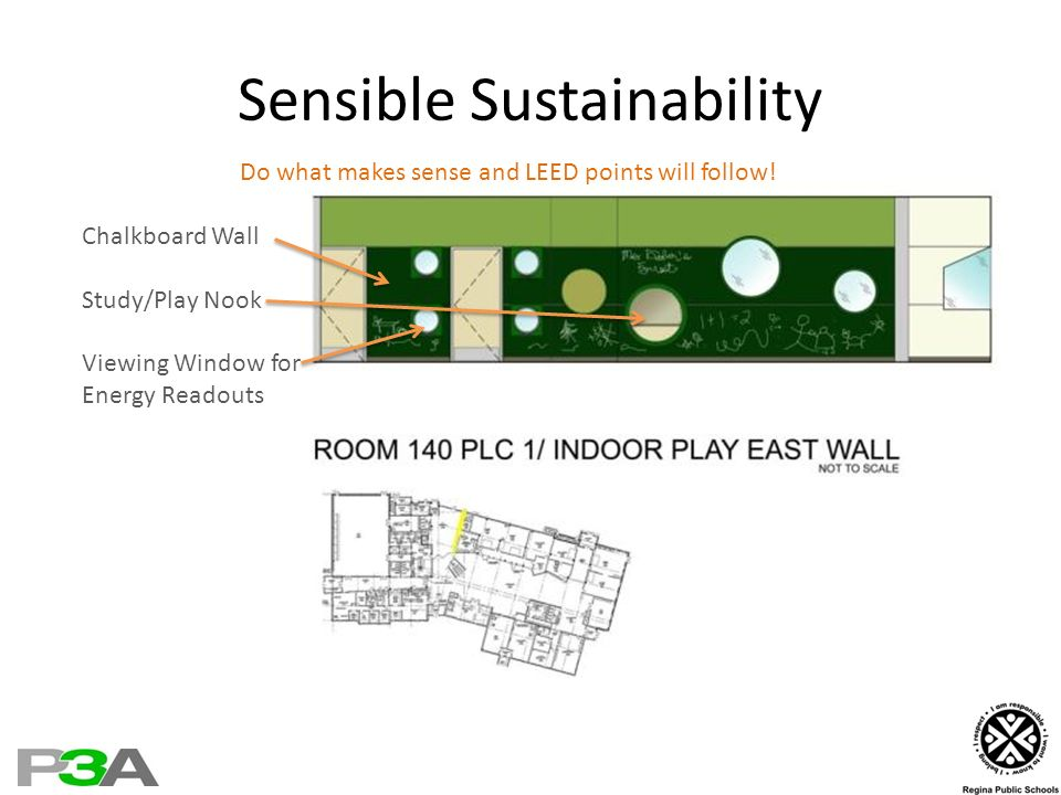 Sensible Sustainability Do what makes sense and LEED points will follow! Chalkboard Wall Study/Play Nook Viewing Window for Energy Readouts