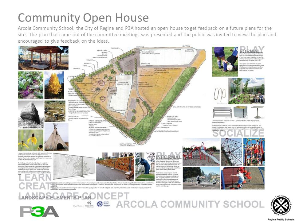 Community Open House Arcola Community School, the City of Regina and P3A hosted an open house to get feedback on a future plans for the site.