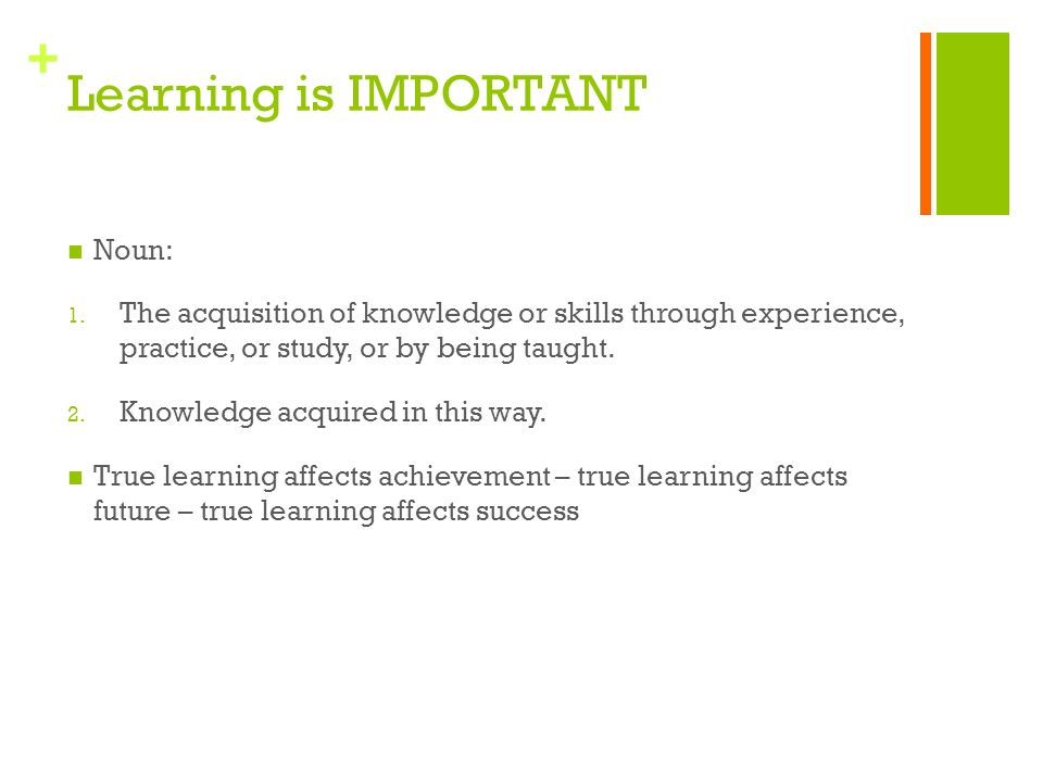 + Learning is IMPORTANT Noun: 1.
