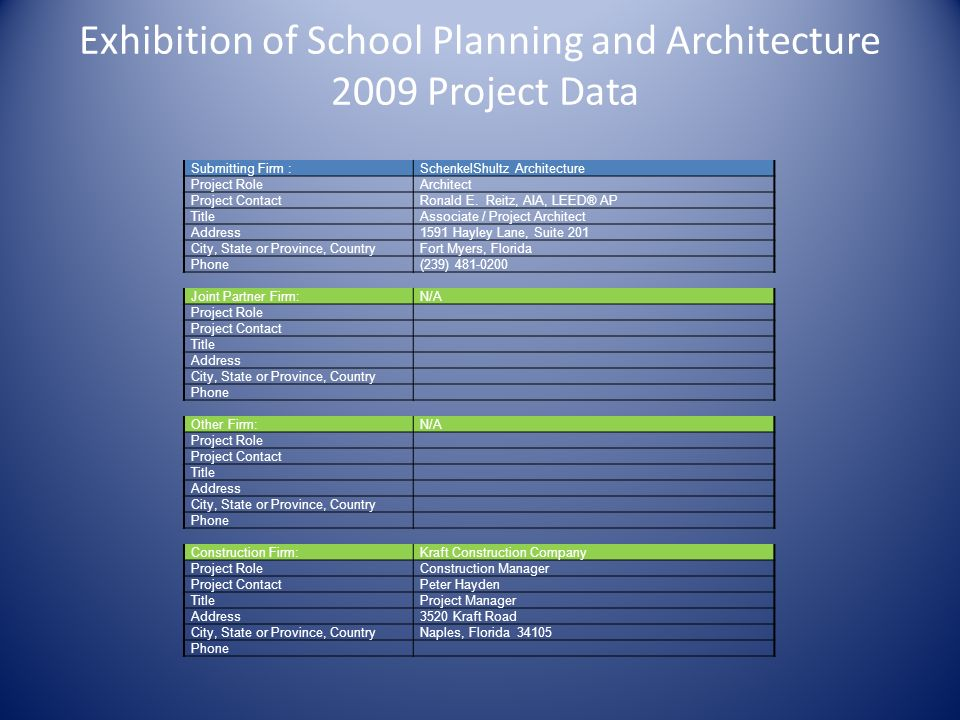 Exhibition of School Planning and Architecture 2009 Project Data Submitting Firm :SchenkelShultz Architecture Project RoleArchitect Project ContactRonald E.