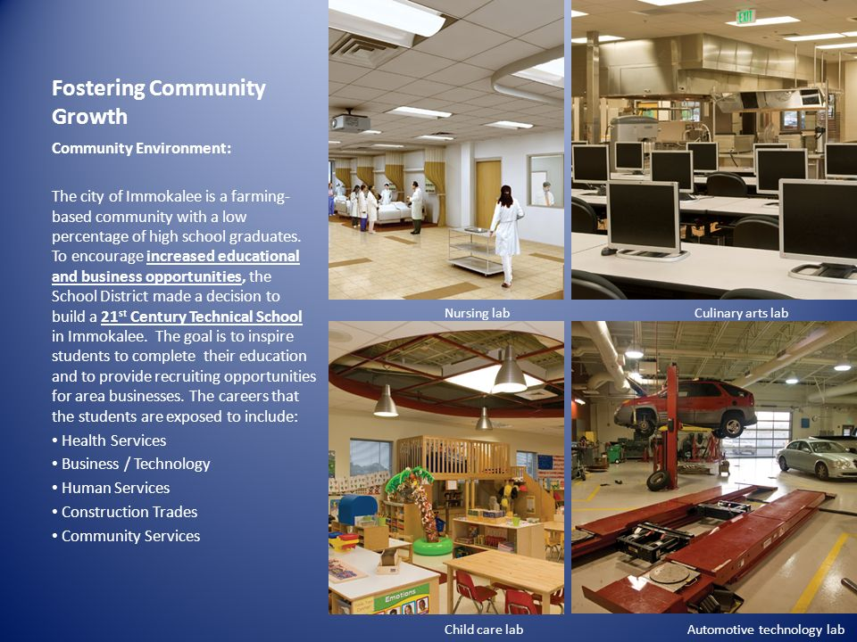 Educational Organization Learning Environment: Transparency and multi-purpose spaces are the overall goals in creating a technical facility for students from the ages of 14 to 64.