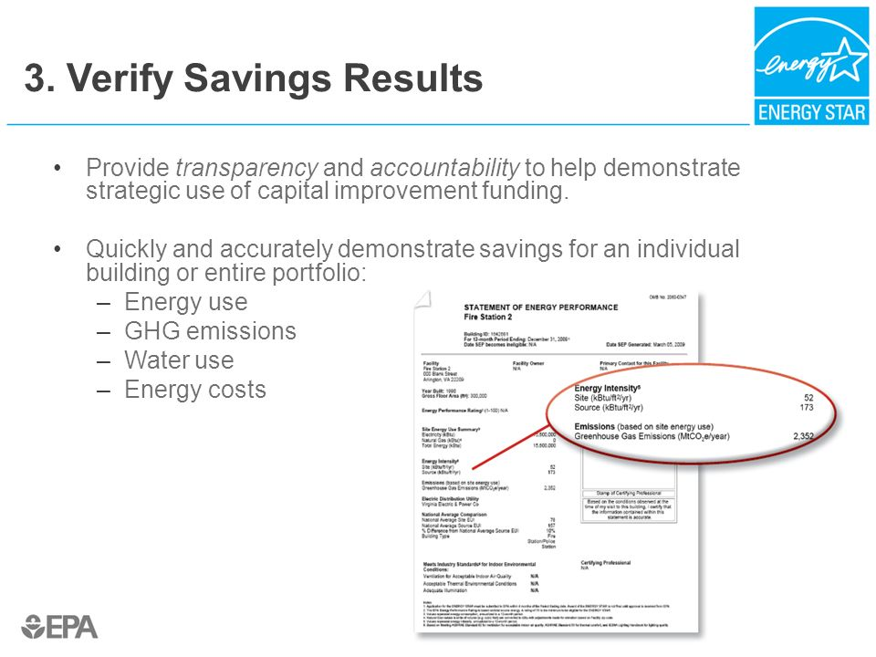 3. Verify Savings Results Provide transparency and accountability to help demonstrate strategic use of capital improvement funding. Quickly and accura