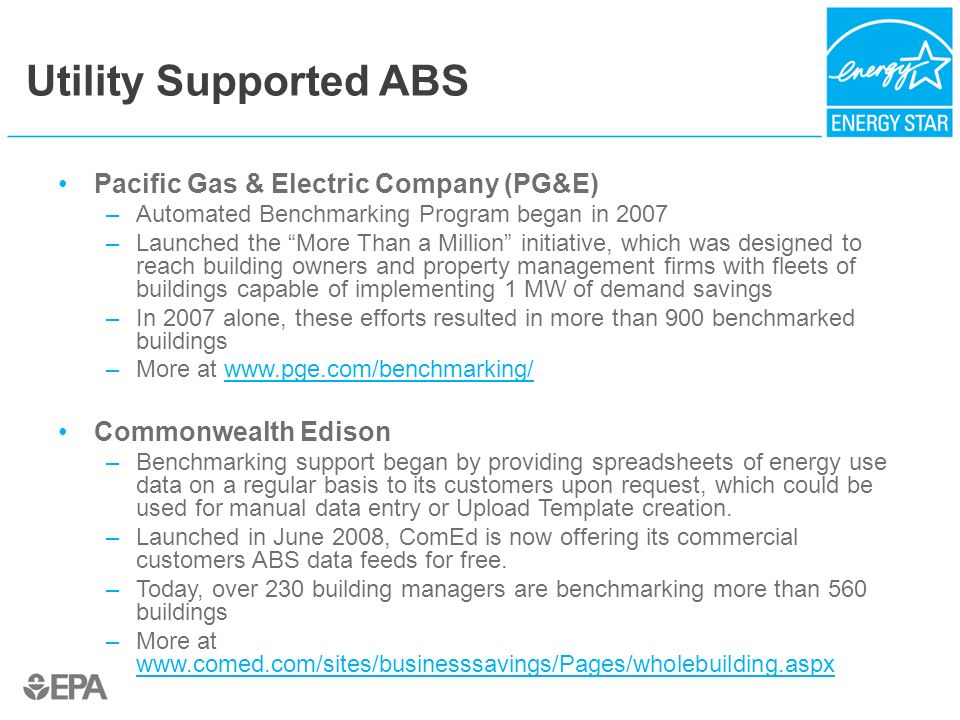 Utility Supported ABS Pacific Gas & Electric Company (PG&E) –Automated Benchmarking Program began in 2007 –Launched the More Than a Million initiative