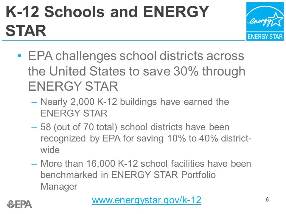 K-12 Schools and ENERGY STAR EPA challenges school districts across the United States to save 30% through ENERGY STAR –Nearly 2,000 K-12 buildings hav