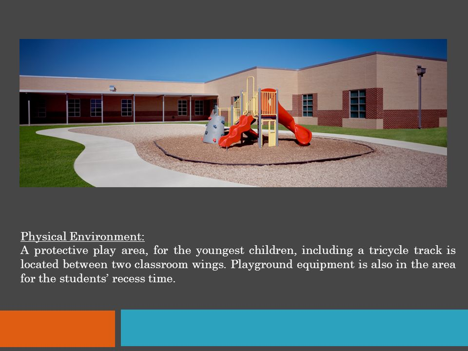 Physical Environment: A protective play area, for the youngest children, including a tricycle track is located between two classroom wings.