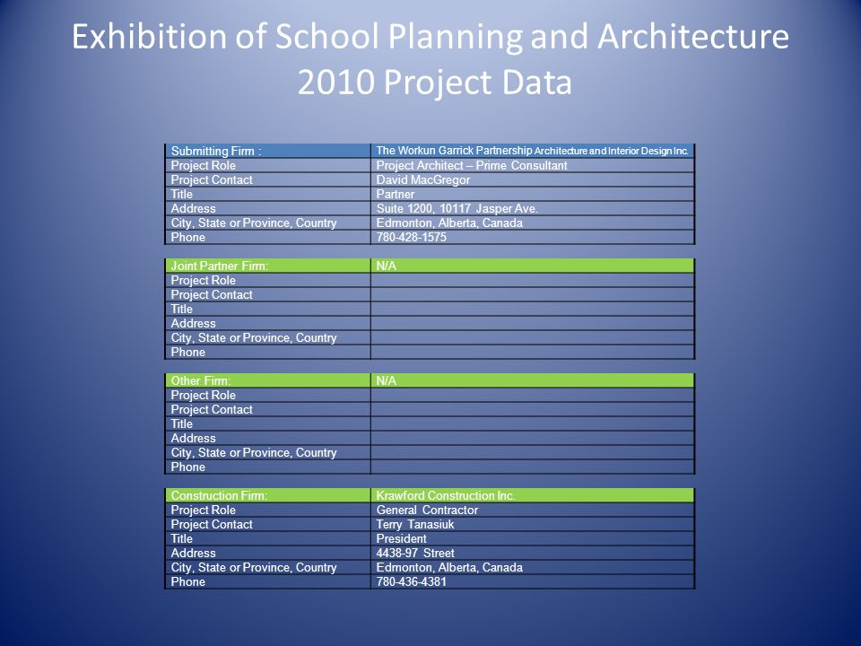 Exhibition of School Planning and Architecture 2010 Project Data Submitting Firm : The Workun Garrick Partnership Architecture and Interior Design Inc