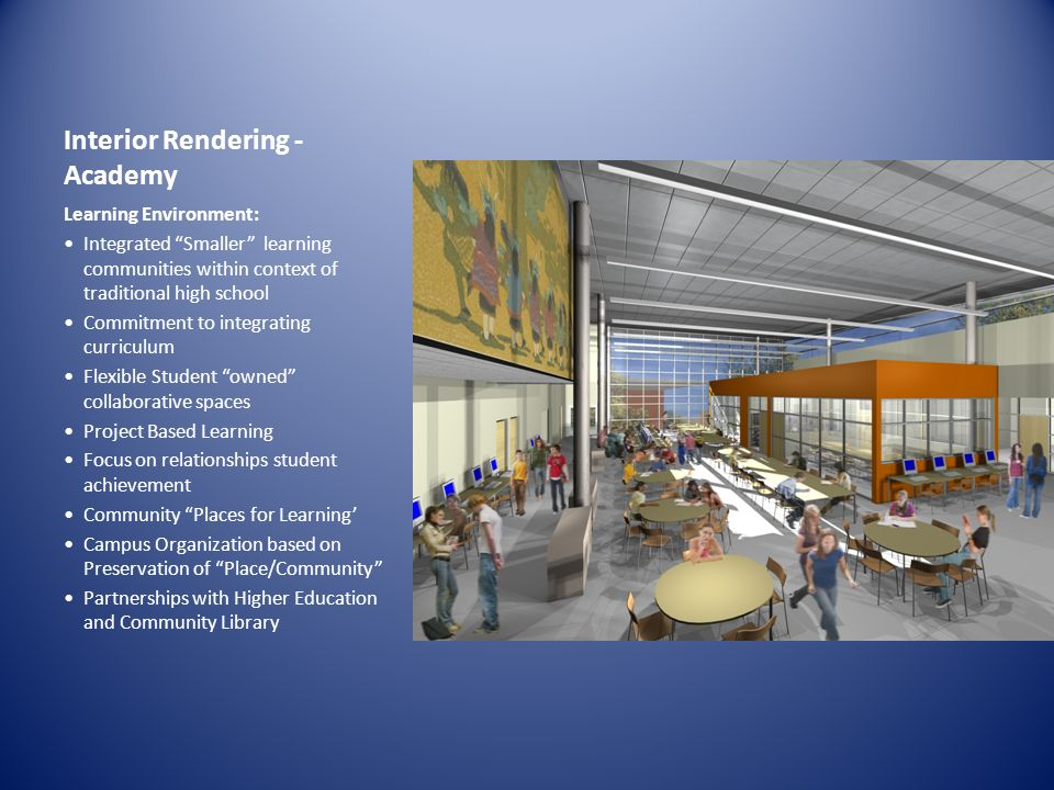 Interior Rendering - Academy Learning Environment: Integrated Smaller learning communities within context of traditional high school Commitment to integrating curriculum Flexible Student owned collaborative spaces Project Based Learning Focus on relationships student achievement Community Places for Learning Campus Organization based on Preservation of Place/Community Partnerships with Higher Education and Community Library