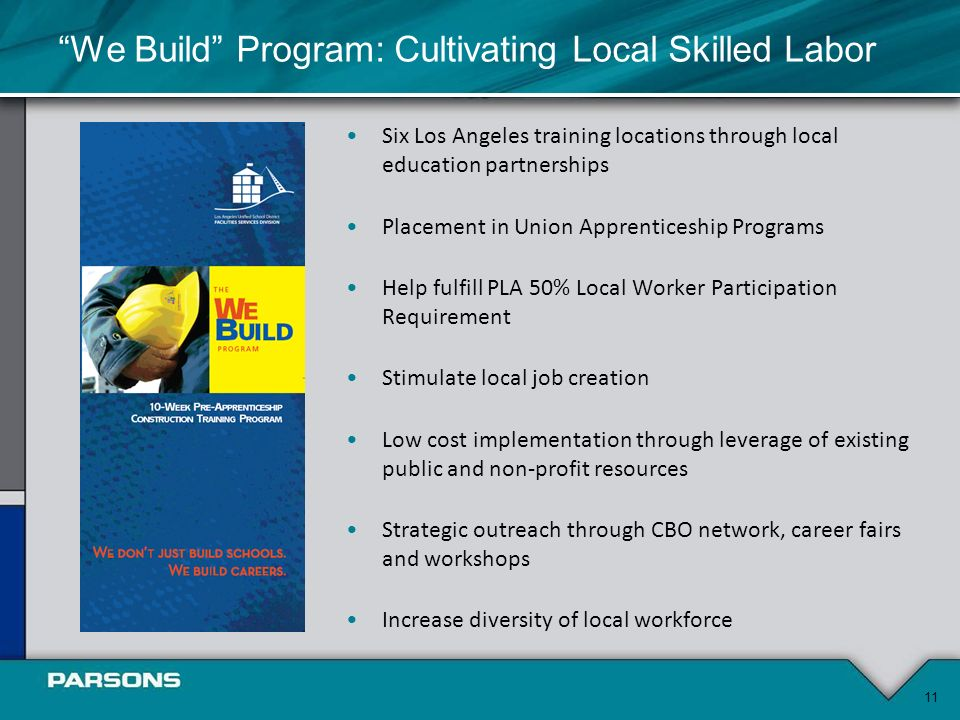 Six Los Angeles training locations through local education partnerships Placement in Union Apprenticeship Programs Help fulfill PLA 50% Local Worker Participation Requirement Stimulate local job creation Low cost implementation through leverage of existing public and non-profit resources Strategic outreach through CBO network, career fairs and workshops Increase diversity of local workforce 11 We Build Program: Cultivating Local Skilled Labor