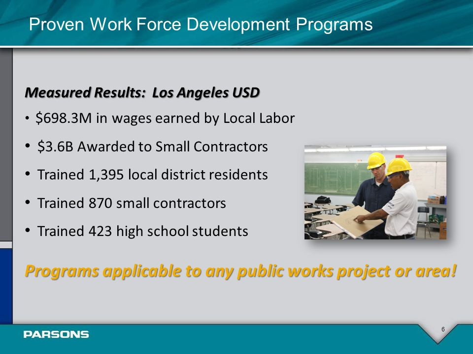 6 Measured Results: Los Angeles USD $698.3M in wages earned by Local Labor $3.6B Awarded to Small Contractors Trained 1,395 local district residents Trained 870 small contractors Trained 423 high school students Programs applicable to any public works project or area.