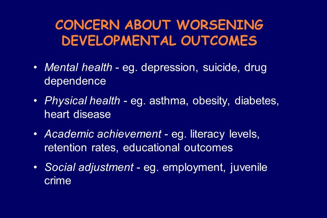 CONCERN ABOUT WORSENING DEVELOPMENTAL OUTCOMES Mental health - eg. depression, suicide, drug dependence Physical health - eg. asthma, obesity, diabete