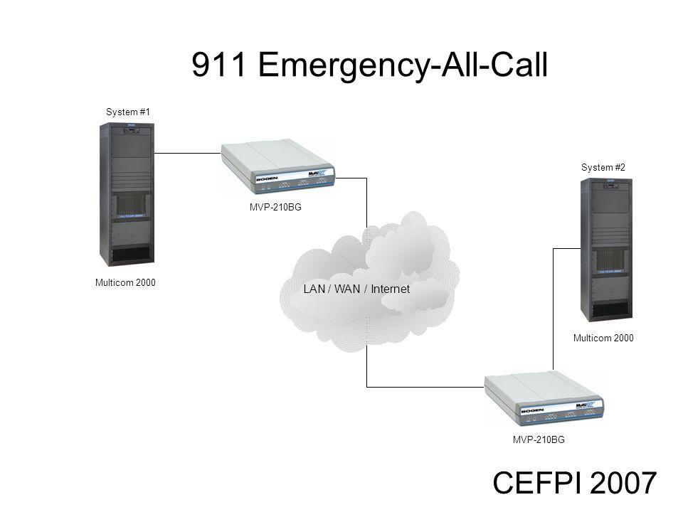 CEFPI 2007 911 Emergency-All-Call Multicom 2000 LAN / WAN / Internet MVP-210BG Multicom 2000 System #1 System #2