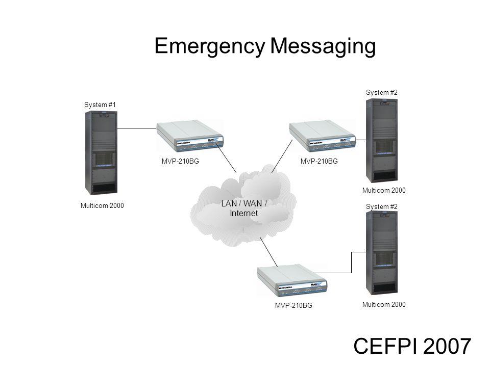 CEFPI 2007 Emergency Messaging Multicom 2000 LAN / WAN / Internet MVP-210BG System #1 Multicom 2000 System #2 Multicom 2000 System #2 MVP-210BG