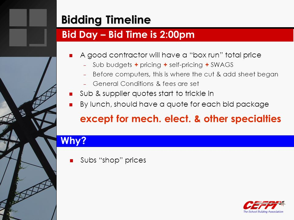 Bidding Timeline A good contractor will have a box run total price – Sub budgets + pricing + self-pricing + SWAGS – Before computers, this is where th