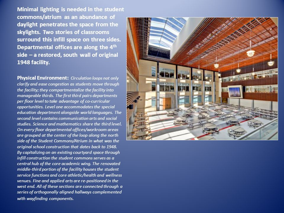 Minimal lighting is needed in the student commons/atrium as an abundance of daylight penetrates the space from the skylights. Two stories of classroom