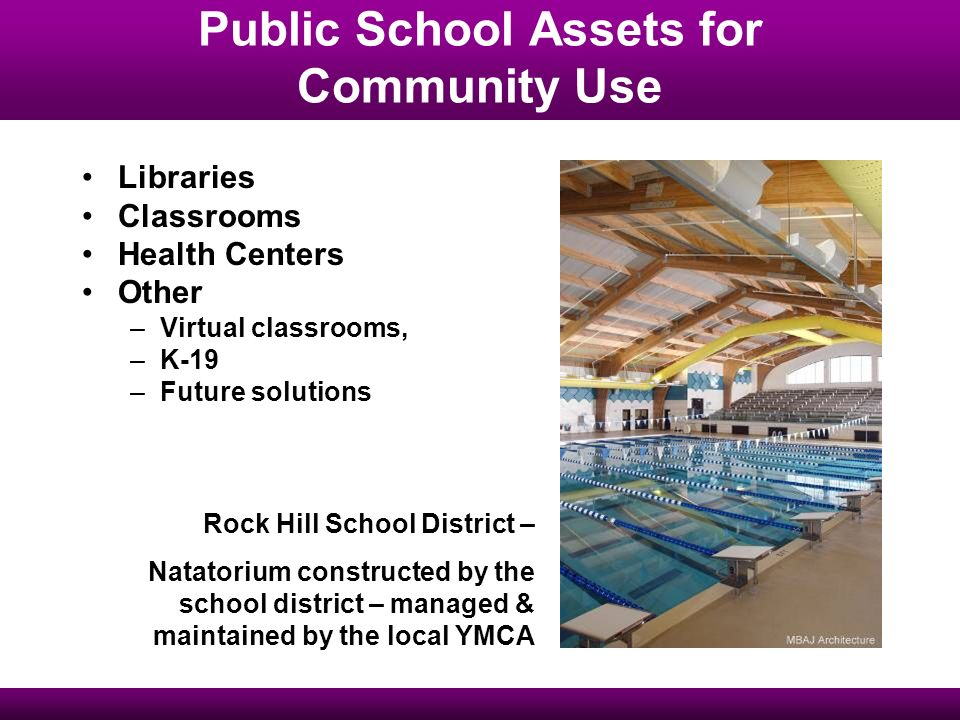 Public School Assets for Community Use Libraries Classrooms Health Centers Other –Virtual classrooms, –K-19 –Future solutions Rock Hill School District – Natatorium constructed by the school district – managed & maintained by the local YMCA
