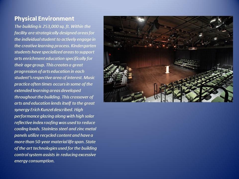 Physical Environment The building is 253,000 sq. ft. Within the facility are strategically designed areas for the individual student to actively engag