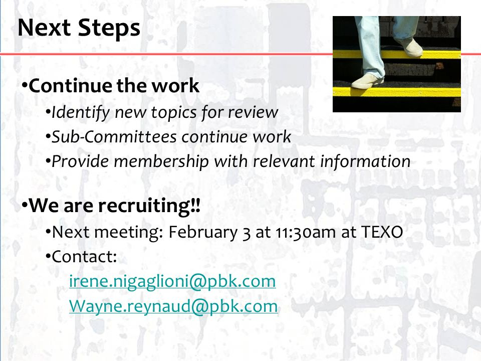 Next Steps Continue the work Identify new topics for review Sub-Committees continue work Provide membership with relevant information We are recruitin