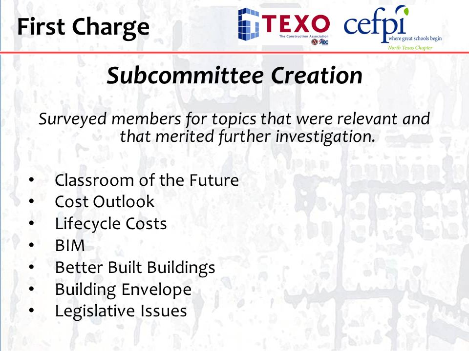 First Charge Subcommittee Creation Surveyed members for topics that were relevant and that merited further investigation. Classroom of the Future Cost