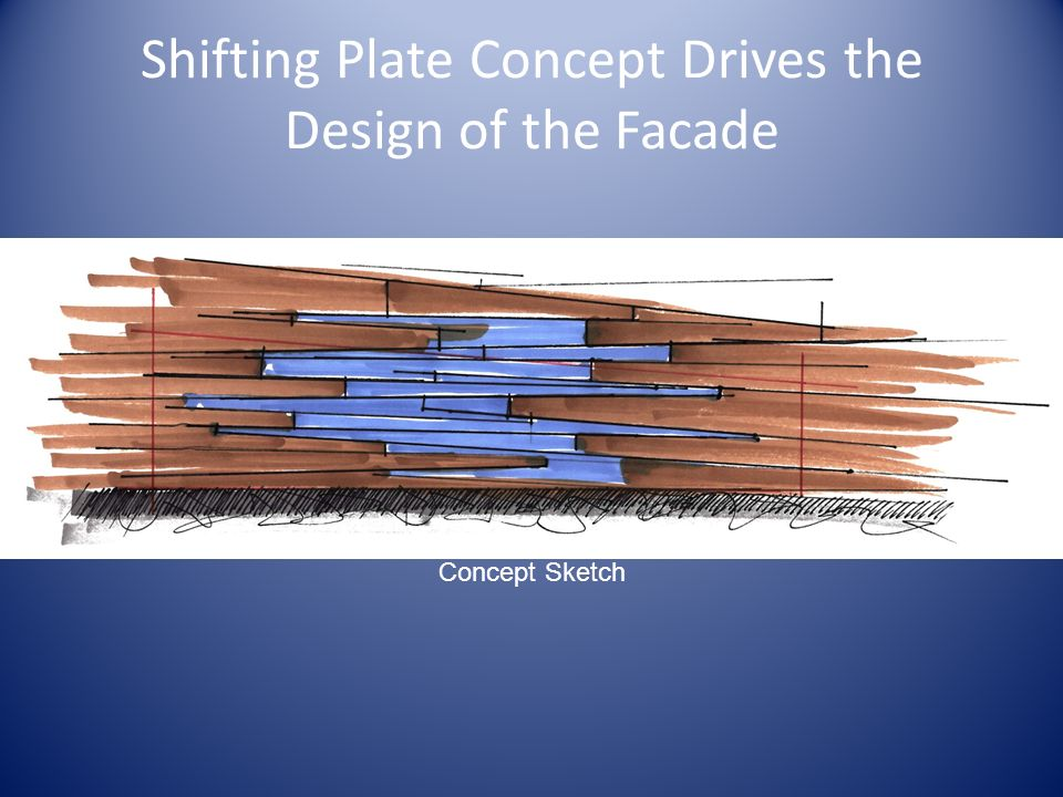 Shifting Plate Concept Drives the Design of the Facade Concept Sketch