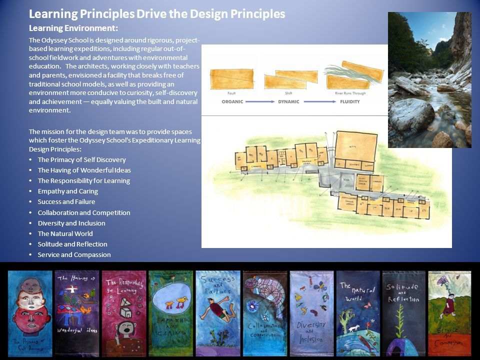Learning Principles Drive the Design Principles Learning Environment: The Odyssey School is designed around rigorous, project- based learning expediti