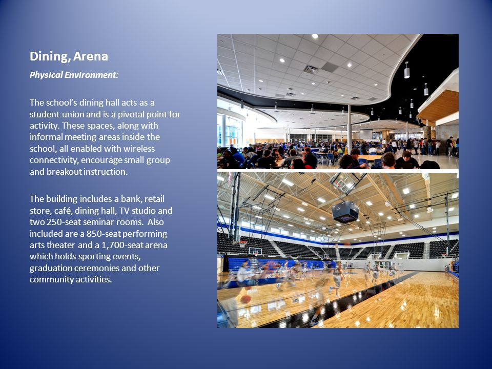 Dining, Arena Physical Environment: The schools dining hall acts as a student union and is a pivotal point for activity. These spaces, along with info