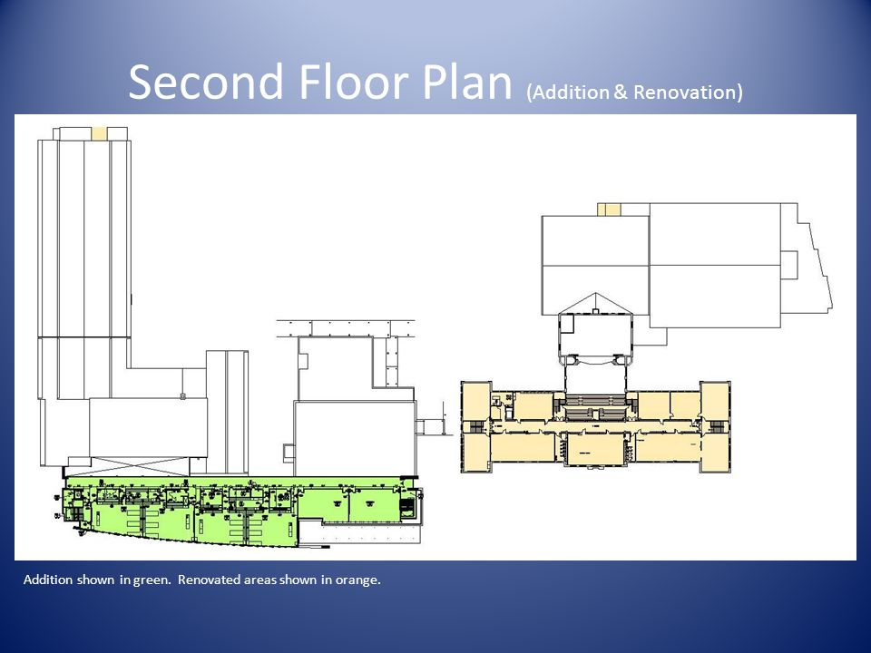 Second Floor Plan (Addition & Renovation) Addition shown in green. Renovated areas shown in orange.
