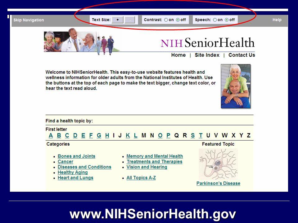 www.NIHSeniorHealth.gov