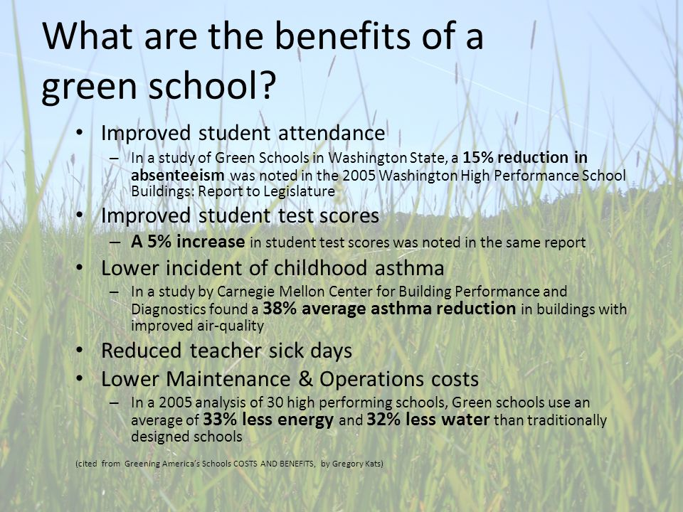 What are the benefits of a green school.