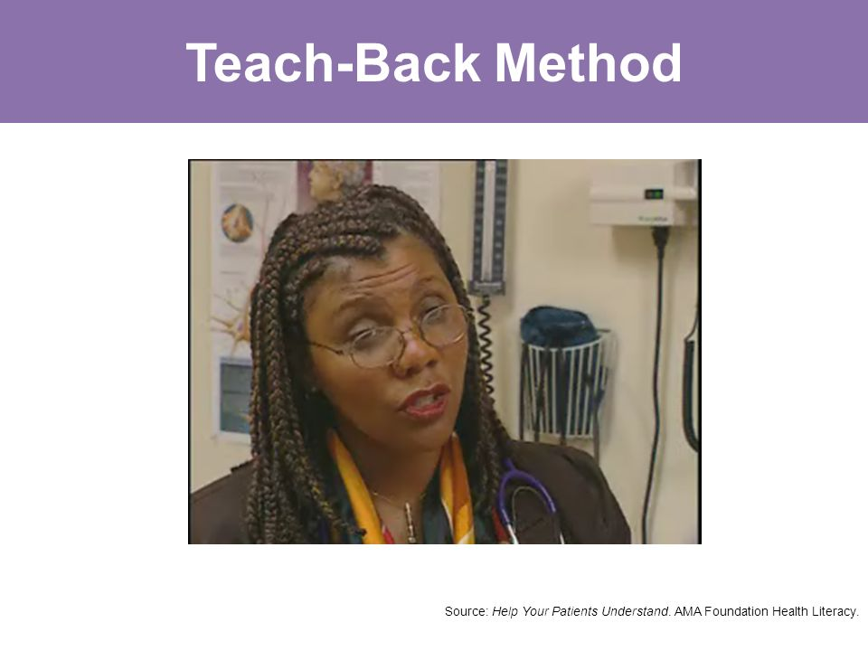 Teach-Back Method Source: Help Your Patients Understand. AMA Foundation Health Literacy.
