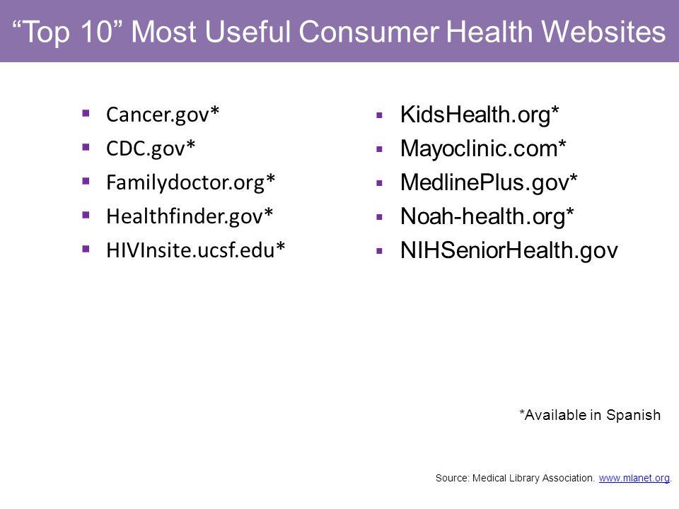 Top 10 Most Useful Consumer Health Websites Cancer.gov* CDC.gov* Familydoctor.org* Healthfinder.gov* HIVInsite.ucsf.edu* *Available in Spanish KidsHealth.org* Mayoclinic.com* MedlinePlus.gov* Noah-health.org* NIHSeniorHealth.gov Source: Medical Library Association.