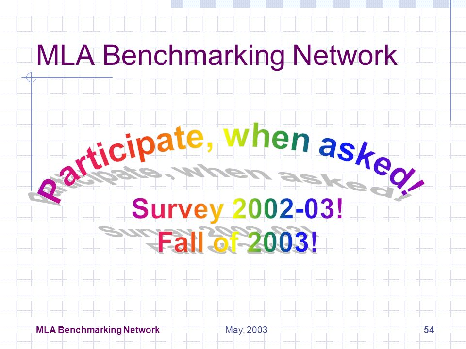 MLA Benchmarking Network53May, 2003 Assessment and Benchmarking Special Interest Group First Meeting Mon, May 5, 2003 Co-Conveners: Linda Garr Markwell liblgm@emory.edu Lyn Dennison ldenniso@mail.mcg.edu 1.