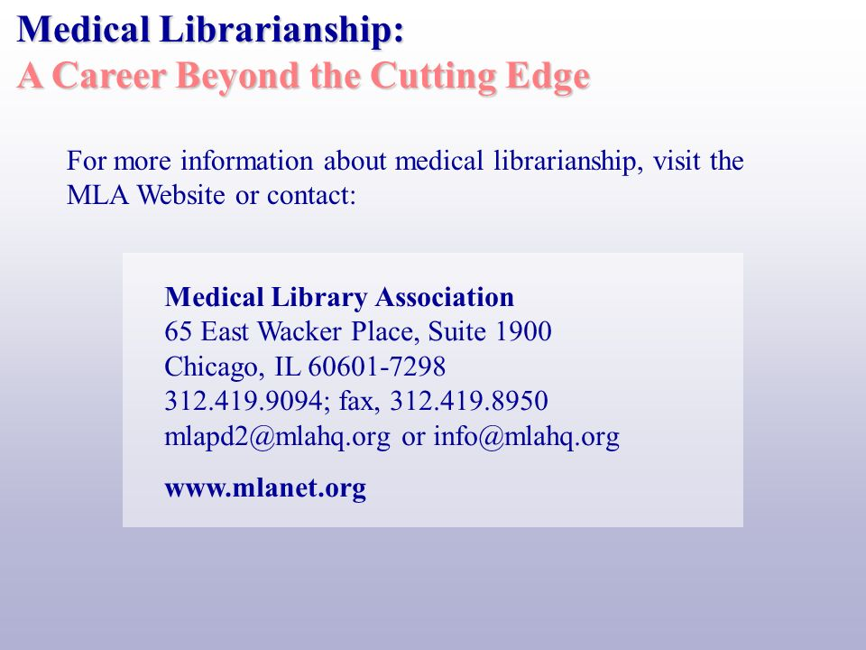 If you are people and service oriented or enjoy interacting with others, or if you are intrigued by the electronic delivery of information, Web page design, health care information delivery, or information retrieval, a career in medical librarianship may be right for you.