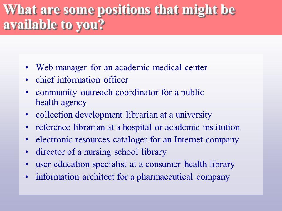 Where do medical librarians work.