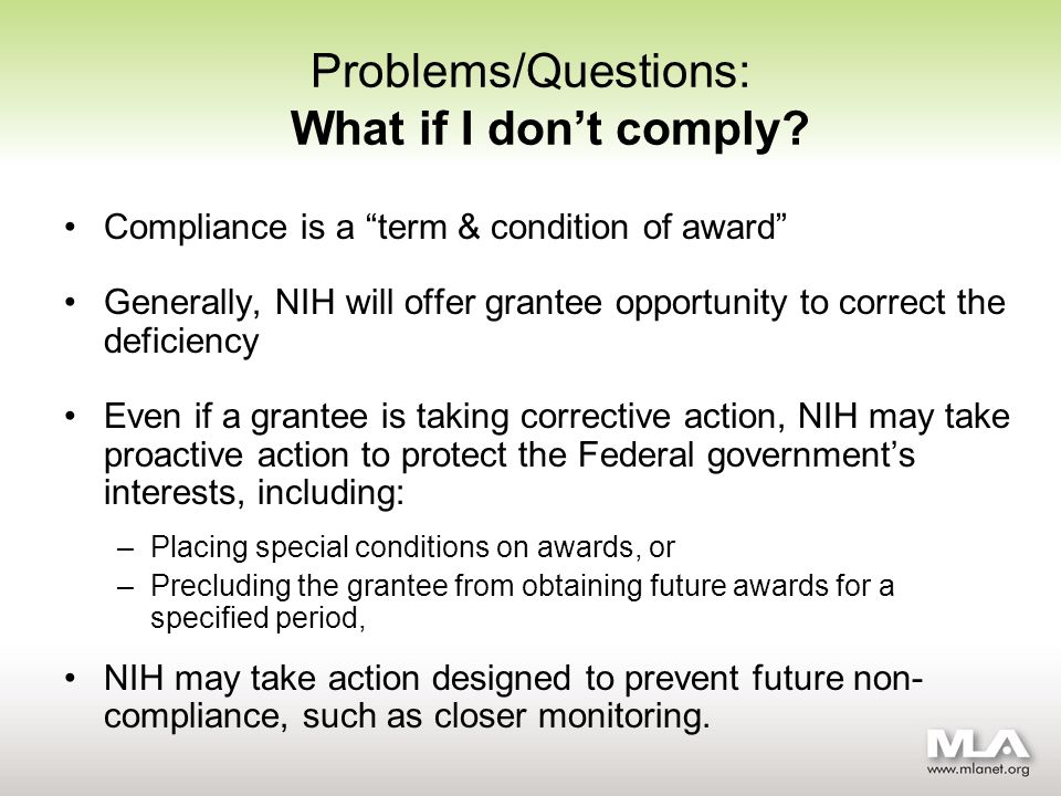 Problems/Questions: What if I dont comply.