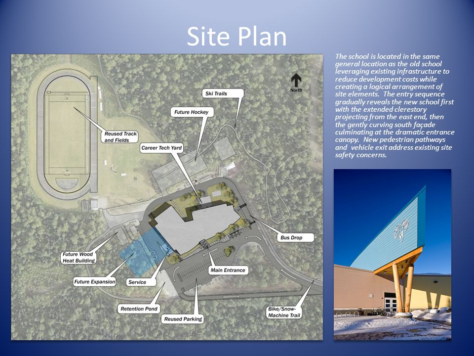 Site Plan The school is located in the same general location as the old school leveraging existing infrastructure to reduce development costs while creating a logical arrangement of site elements.