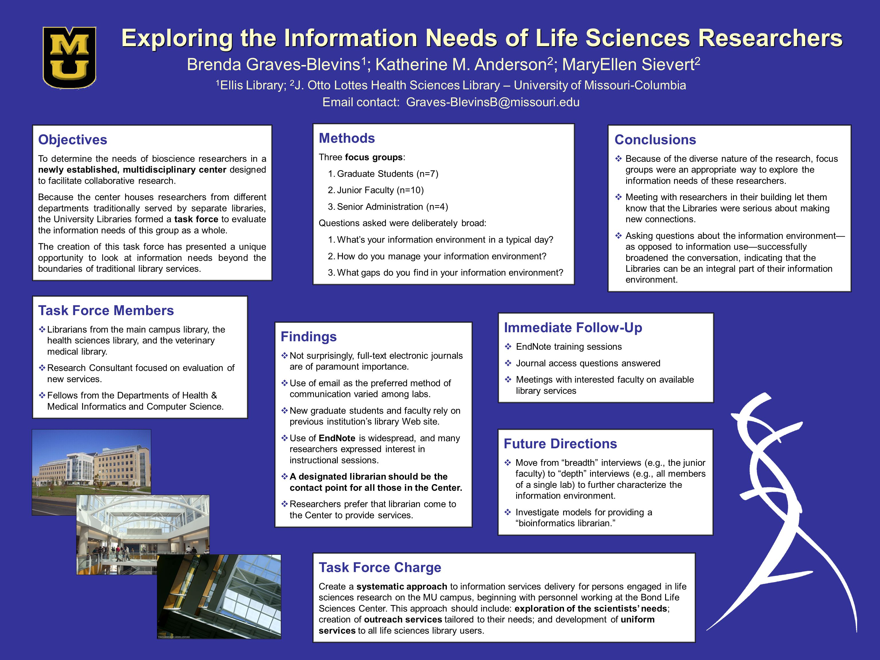 Exploring the Information Needs of Life Sciences Researchers Brenda Graves-Blevins 1 ; Katherine M.