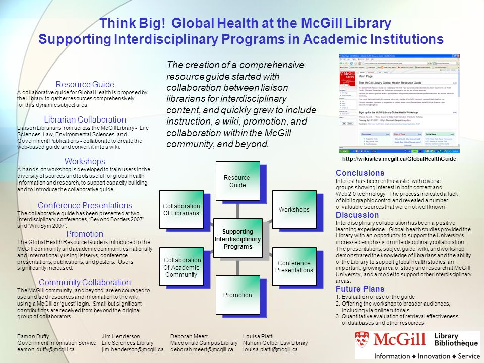 Think Big! Global Health at the McGill Library Supporting Interdisciplinary Programs in Academic Institutions Supporting Interdisciplinary Programs Re