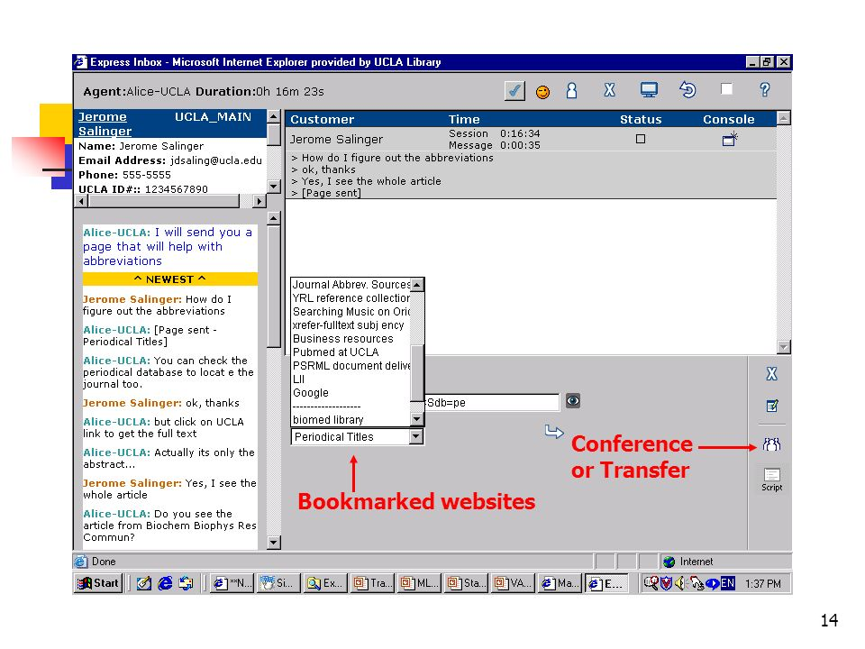 14 Conference or Transfer Bookmarked websites