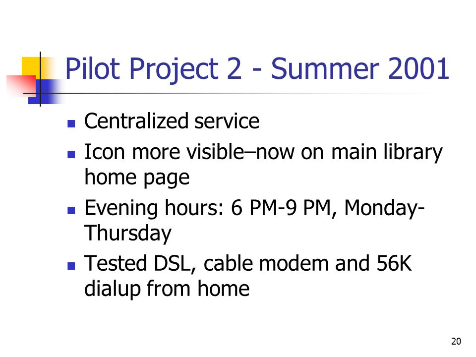 20 Pilot Project 2 - Summer 2001 Centralized service Icon more visible–now on main library home page Evening hours: 6 PM-9 PM, Monday- Thursday Tested DSL, cable modem and 56K dialup from home