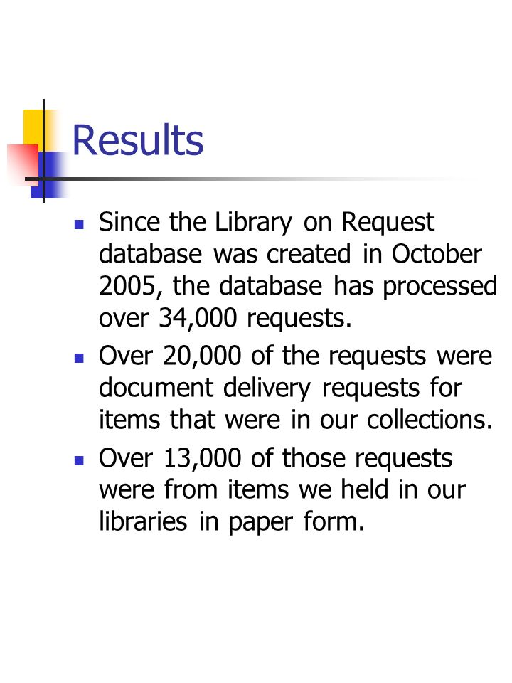 Results Since the Library on Request database was created in October 2005, the database has processed over 34,000 requests. Over 20,000 of the request
