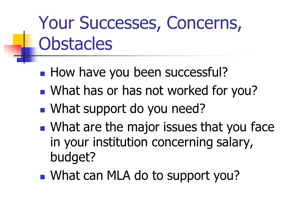 Your Successes, Concerns, Obstacles How have you been successful? What has or has not worked for you? What support do you need? What are the major iss