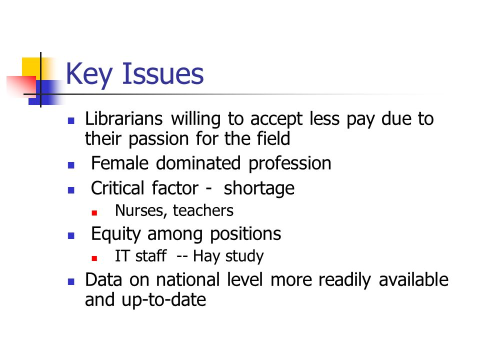 Key Issues Librarians willing to accept less pay due to their passion for the field Female dominated profession Critical factor - shortage Nurses, tea