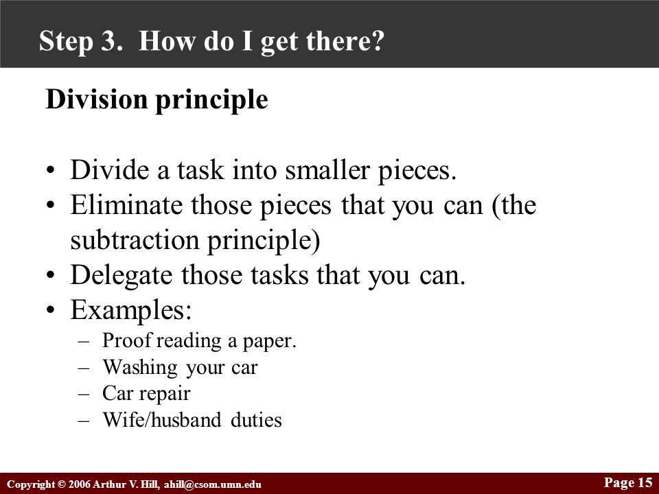 Copyright © 2006 Arthur V. Hill, ahill@csom.umn.edu Page 15 Step 3. How do I get there? Division principle Divide a task into smaller pieces. Eliminat