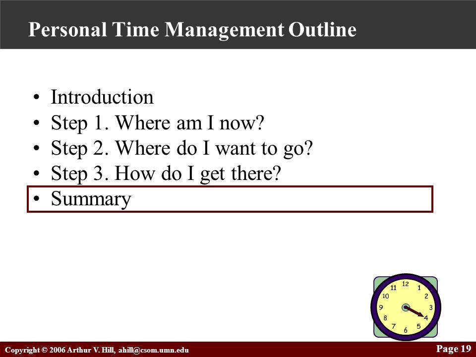 Copyright © 2006 Arthur V. Hill, ahill@csom.umn.edu Page 19 Personal Time Management Outline Introduction Step 1. Where am I now? Step 2. Where do I w