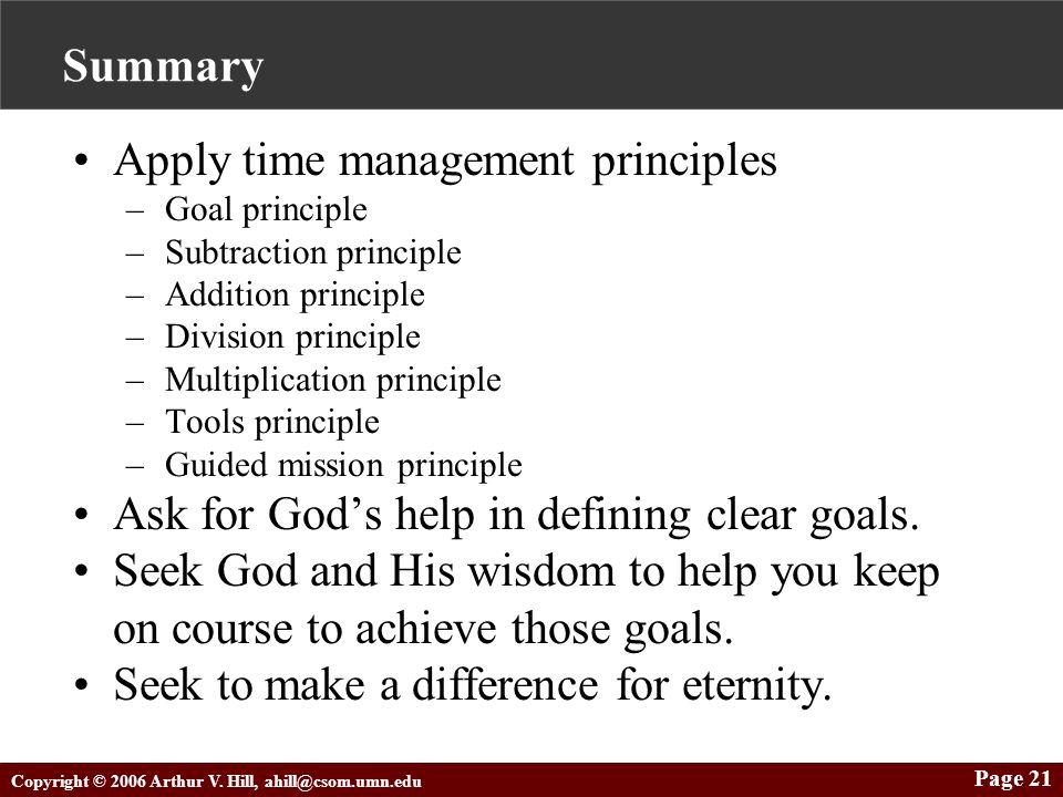Copyright © 2006 Arthur V. Hill, ahill@csom.umn.edu Page 21 Summary Apply time management principles –Goal principle –Subtraction principle –Addition