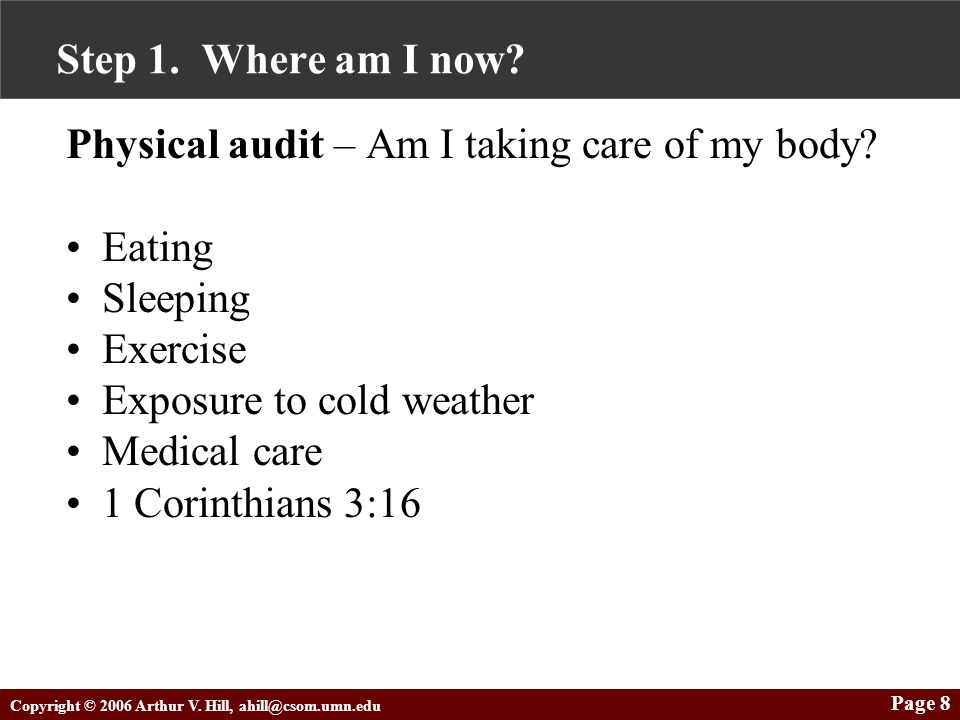 Copyright © 2006 Arthur V. Hill, ahill@csom.umn.edu Page 8 Step 1. Where am I now? Physical audit – Am I taking care of my body? Eating Sleeping Exerc